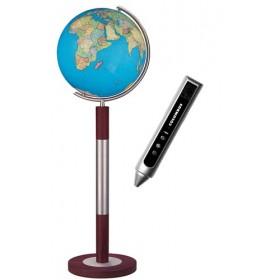 Globe Terrestre Duo 40 cm en cristal sur pied en métal/bois 120 cm