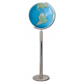 Globe terrestre Duo 40 cm en cristal sur pied en métal 120 cm