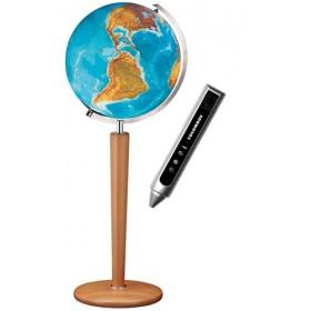 Globe cristal Terrestre Duo avec pied en bois massif interactif
