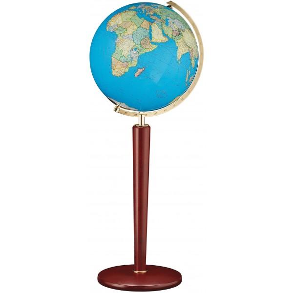 Globe cristal Terrestre interactif Duo avec pied en acajou