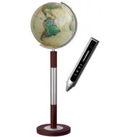 Globe Terrestre Royal 40 cm en cristal sur pied en métal/bois 120 cm