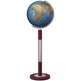 Globe terrestre Duorama Ø40 cm en cristal sur pied en métal/bois 120 cm
