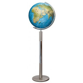 Globe terrestre Duorama Ø40 cm en cristal sur pied métal de 120 cm