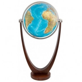 Globe terrestre cristal Ø 51 cm Duo sur pied en bois massif
