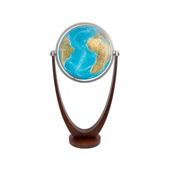 Globe cristal Terrestre lumineux interactif Duo avec pied en bois massif
