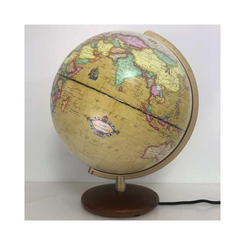 Globe lumineux Columbus Renaissance avec pied en noyer