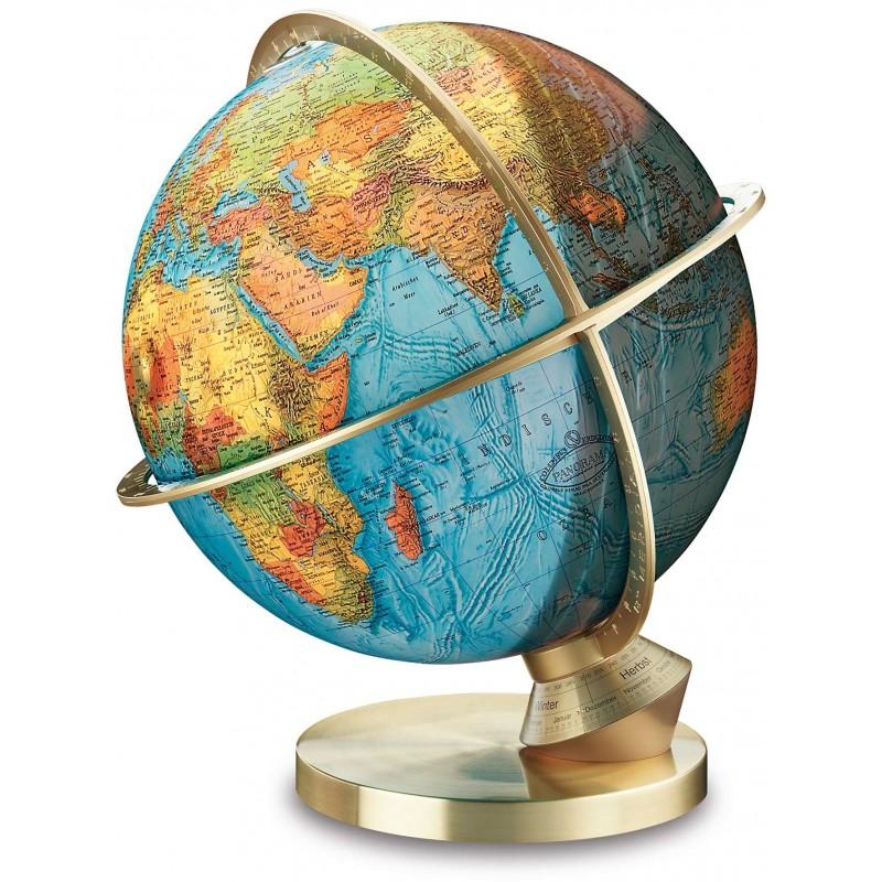 Globe Terrestre Jour/Nuit 34 cm avec pied en laiton